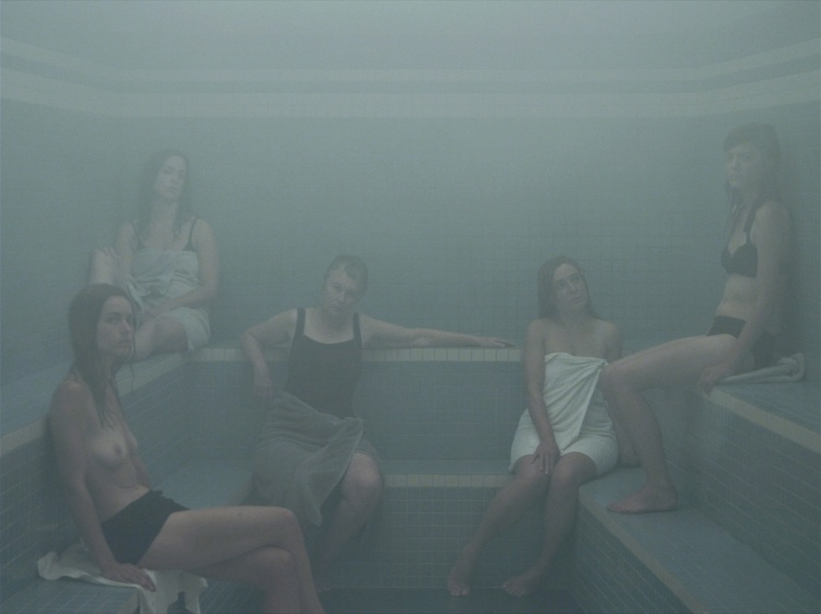 Olivia Boudreau, Steam Room, 2011, HD sequence, colour, sound, 20 minutes. Performers: Marie Josée Boulanger, Janick Burn, France Choinière, Marie Andrée Houde and Monique Régimbald-Zeimber. Photography by André Turpin; sound by Sylvain Bellemare.