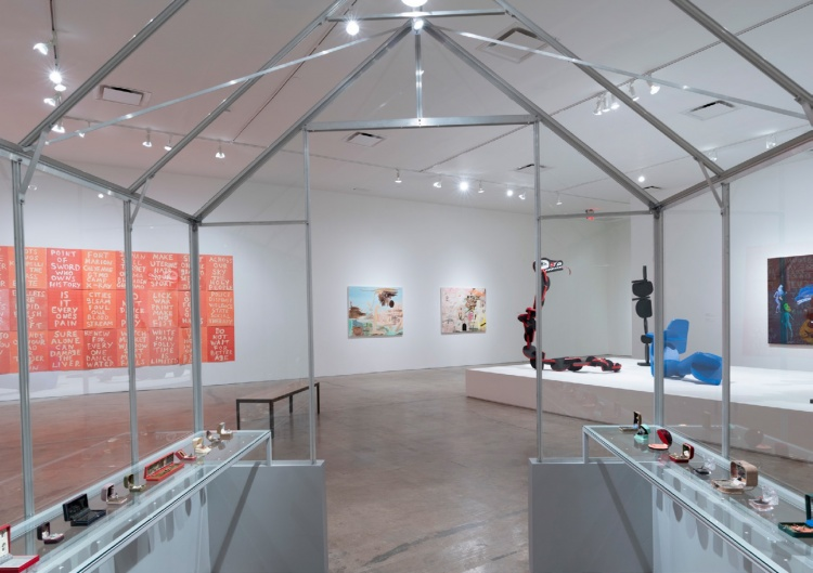 Installation view at SITElines, 2018, Santa Fe<br>Foreground: Curtis Talwst Santiago, <em>Infinity series</em>, 2008-ongoing, mixed media dioramas in reclaimed jewelry boxes.