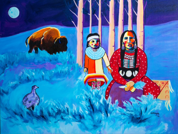 Lana Whiskeyjack, <em>Paskwâwihkwaskwa</em>, 2020, acrylic on canvas, 101.6 cm x 76.2 cm  PHOTO : REBECCA LIPPIATT; © AND COURTESY OF THE ARTIST